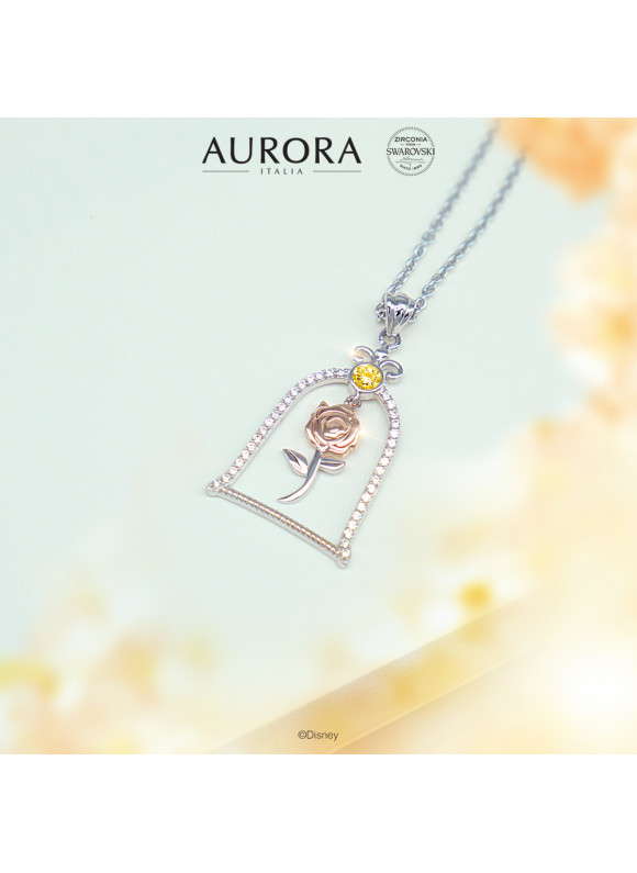 BEAUTY & THE BEAST ENCHANTED ROSE NECKLACE   SWAROVSKI ZIRCONIA   925 STERLING SILVER   18K WHITE GOLD PLATED & ROSE GOLD PLATED
