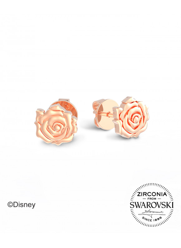 BEAUTY & THE BEAST ENCHANTED ROSE EARRINGS | SWAROVSKI ZIRCONIA | 925 STERLING SILVER |18K WHITE GOLD AND ROSE GOLD PLATED