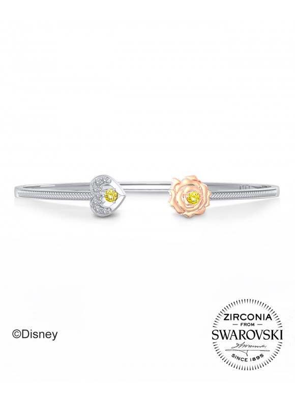 BEAUTY & THE BEAST ROSE & FANGS BANGLE  | SWAROVSKI ZIRCONIA | 925 STERLING SILVER | 18K WHITE GOLD PLATED & ROSE GOLD PLATED