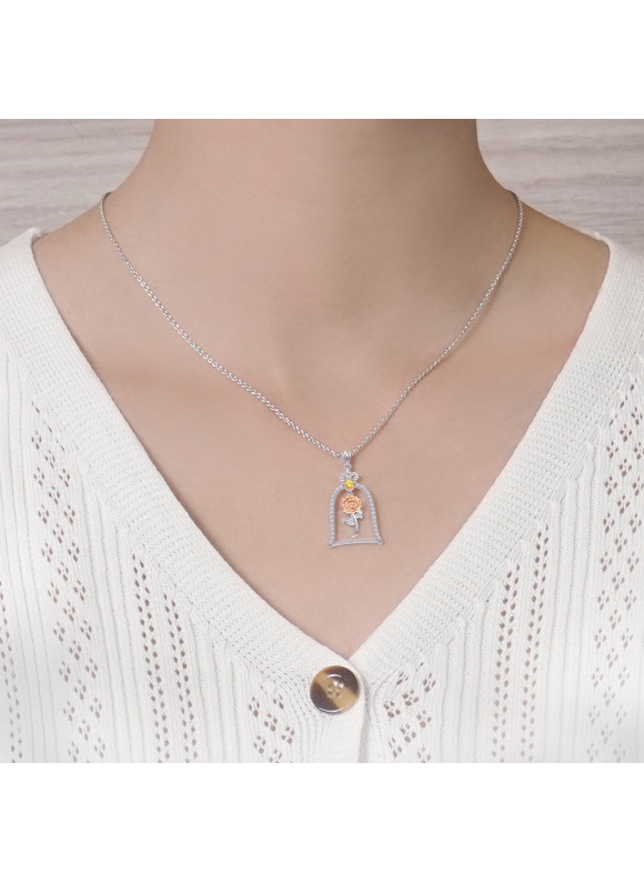 BEAUTY & THE BEAST ENCHANTED ROSE NECKLACE & ROSE GOLD PLATED