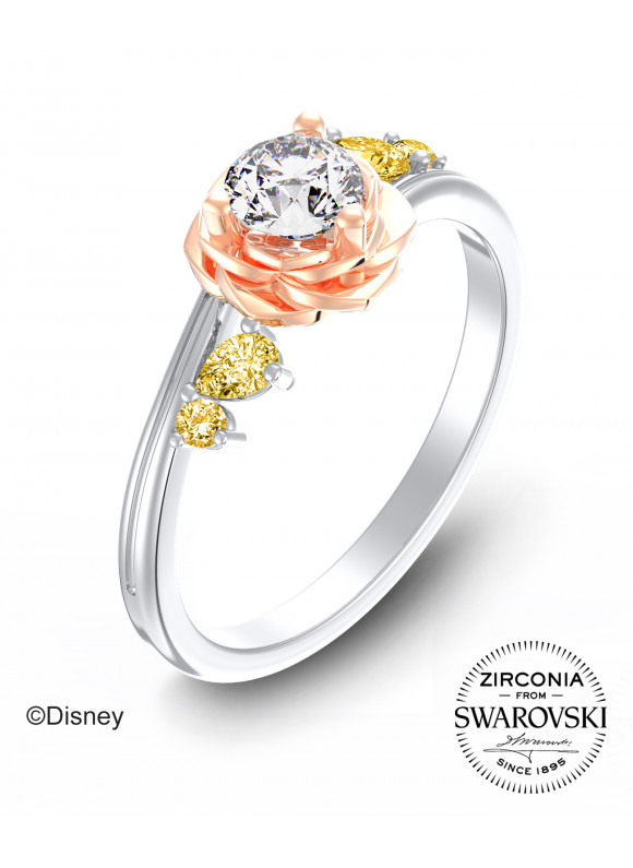 BEAUTY & THE BEAST ENCHANTED ROSE TWIST RING   | SWAROVSKI ZIRCONIA | 925 STERLING SILVER | 18K WHITE GOLD PLATED & ROSE GOLD PLATED