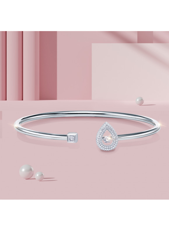 Auroses Single Pear Shape Bangle | SWAROVSKI ZIRCONIA | 925 Sterling Silver | 18K White Gold Plated