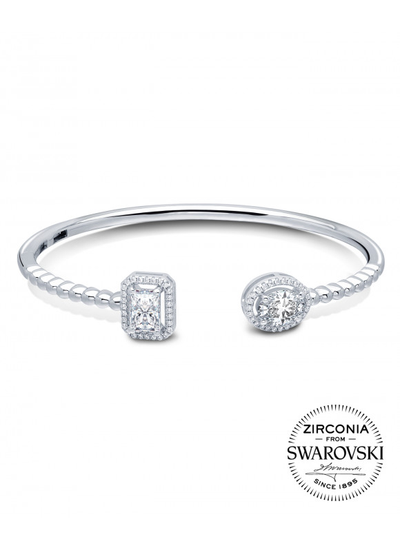 Auroses Emerald & Oval Cut Halo Bangle | SWAROVSKI ZIRCONIA | 925 Sterling Silver | 18K White Gold Plated