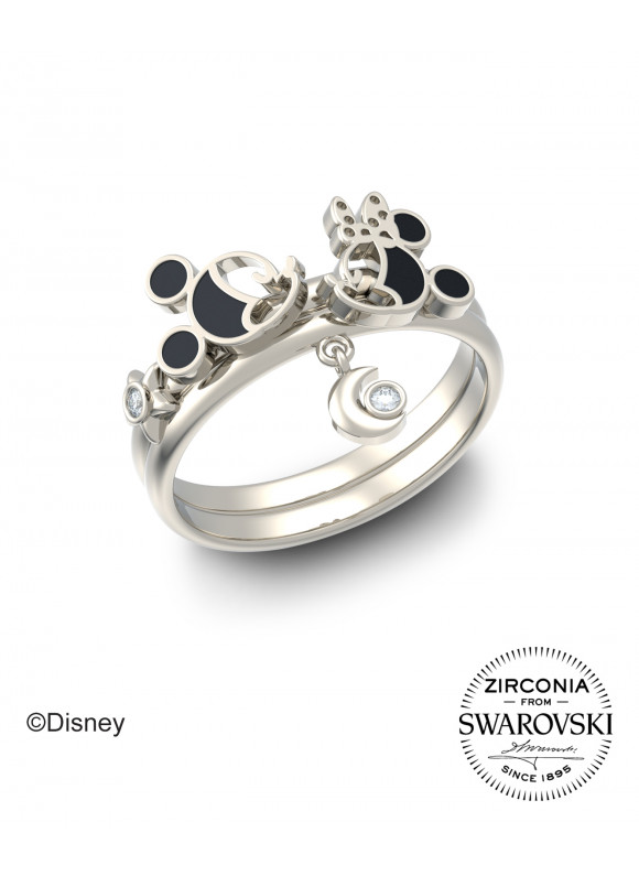Disney Mickey Minnie Starry Moon Night Swarovski Ring