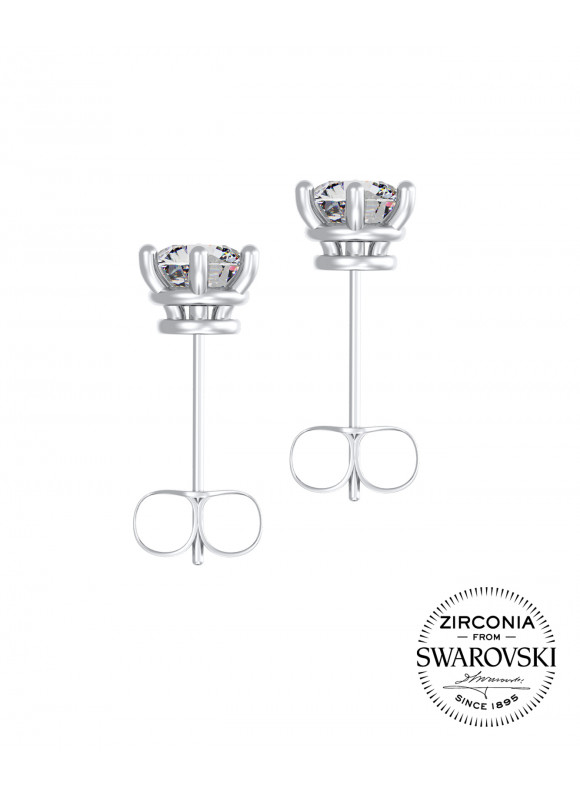 AUROSES SIX PRONG SOLITAIRE STUD EARRINGS  | SWAROVSKI ZIRCONIA | 925 STERLING SILVER | 18K WHITE GOLD PLATED