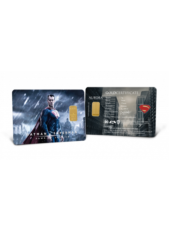 AURORA ITALIA LIMITED EDITION BATMAN VS SUPERMAN : SUPERMAN GOLD BAR 1G - 1 PC (AU 999.9) 24K, (CARD DESIGN , CELEBRATION, COLLECTION, GIFT)