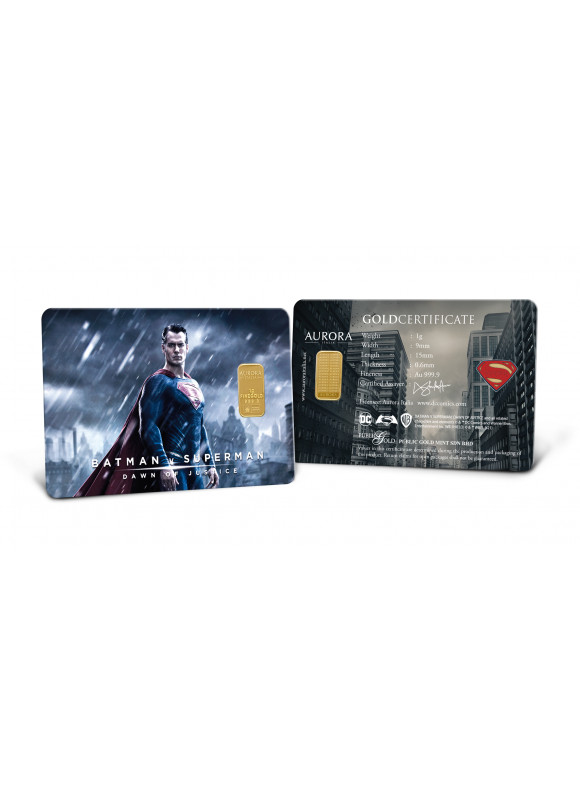 AURORA ITALIA LIMITED EDITION BATMAN VS SUPERMAN GRAM BAR 1G - 2 PCS (AU 999.9) 24K, (CARD DESIGN , CELEBRATION, COLLECTION, GIFT)