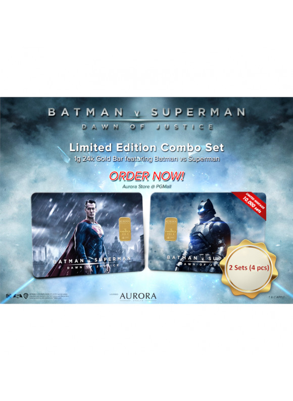 AURORA ITALIA LIMITED EDITION BATMAN VS SUPERMAN GRAM BAR 1G - 4 PCS (AU 999.9) 24K, (CARD DESIGN , CELEBRATION, COLLECTION, GIFT)