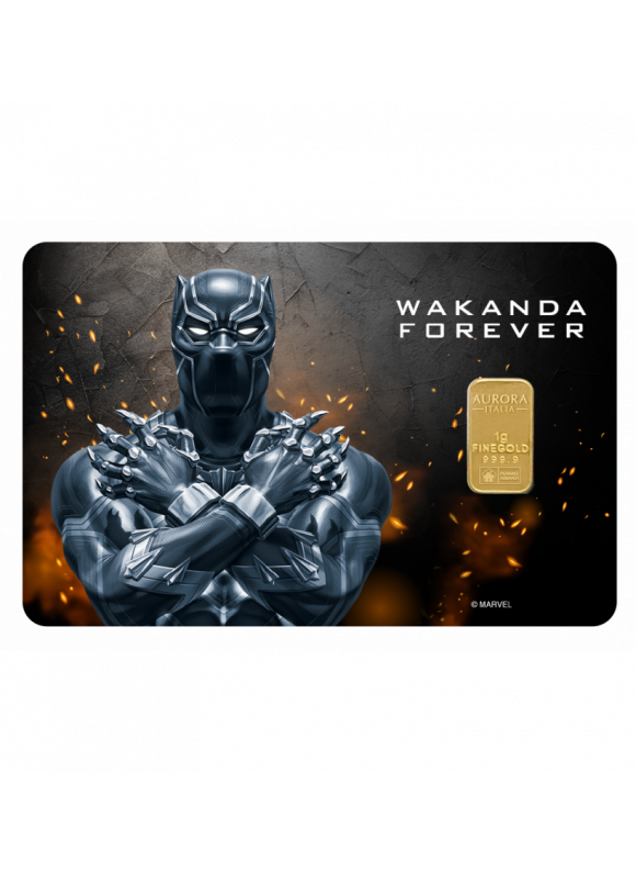 Aurora Italia Limited Edition Marvel Black Panther Wakanda Forever Gold Bar 1g - 1pc (Au 999.9) 24K, (card design, celebration, collection, gift)