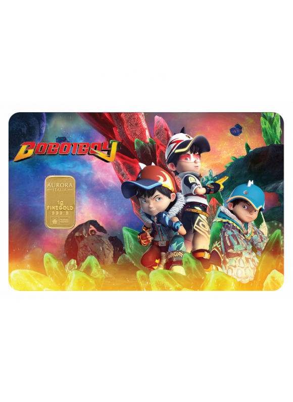 AURORA ITALIA LIMITED EDITION BOBOIBOY 2 GOLD BAR 1G - 1 PC (AU 999.9) 24K, (CARD DESIGN , CELEBRATION, COLLECTION, GIFT)