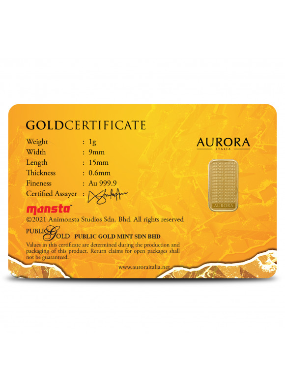 AURORA ITALIA LIMITED EDITION BOBOIBOY 3 GRAM BAR 1G (AU 999.9) 24K