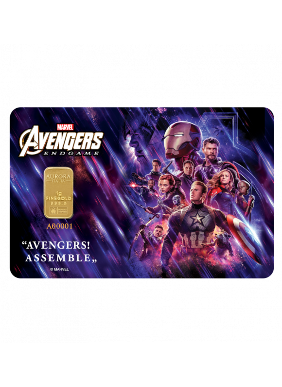 Aurora Italia Limited Edition Marvel Endgame Gold Bar 1g - 1 pc (Au 999.9) 24K, (card design , celebration, collection, gift)