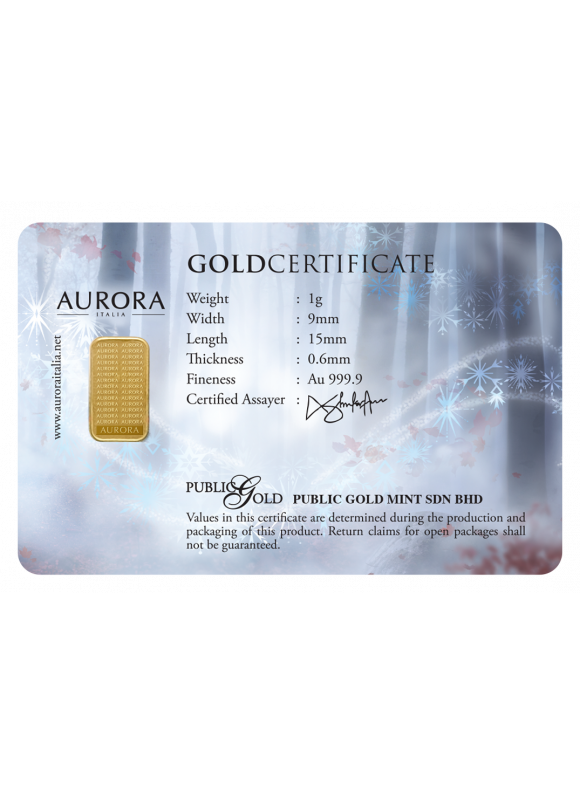 Aurora Italia Limited Edition Frozen II Gold Bar 1g - 1pc (Au 999.9) 24K, (card design, celebration, collection, gift)