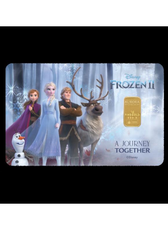 Aurora Italia Limited Edition Frozen II Gold Bar 1g - 1pc (Au 999.9) 24K, (card design, celebration, collection, gift)