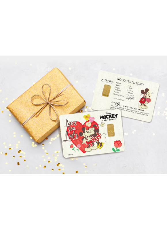 AURORA ITALIA LIMITED EDITION MICKEY & MINNIE VALENTINE GRAM BAR 1G - 2PCS (AU 999.9) 24K, (CARD DESIGN, CELEBRATION, COLLECTION, GIFT)