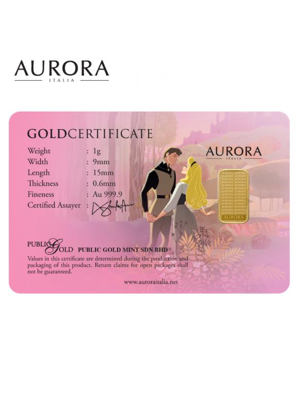 AURORA ITALIA DISNEY PRINCESS COLLECTION - PRINCESS AURORA LIMITED EDITION GRAM BAR 1G 24K (AU 999.9)