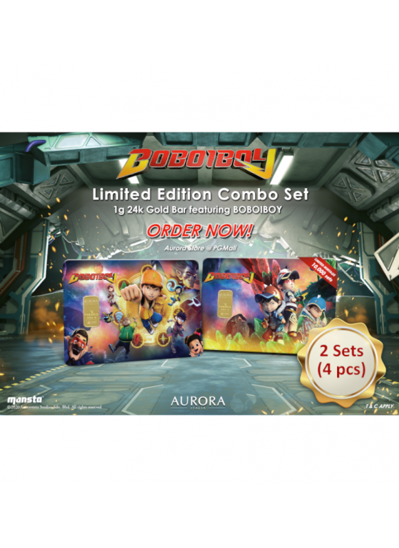 AURORA ITALIA LIMITED EDITION BOBOIBOY 1+2 GRAM BAR 1G - 4PCS COMBO (AU 999.9) 24K, (CARD DESIGN , CELEBRATION, COLLECTION, GIFT)