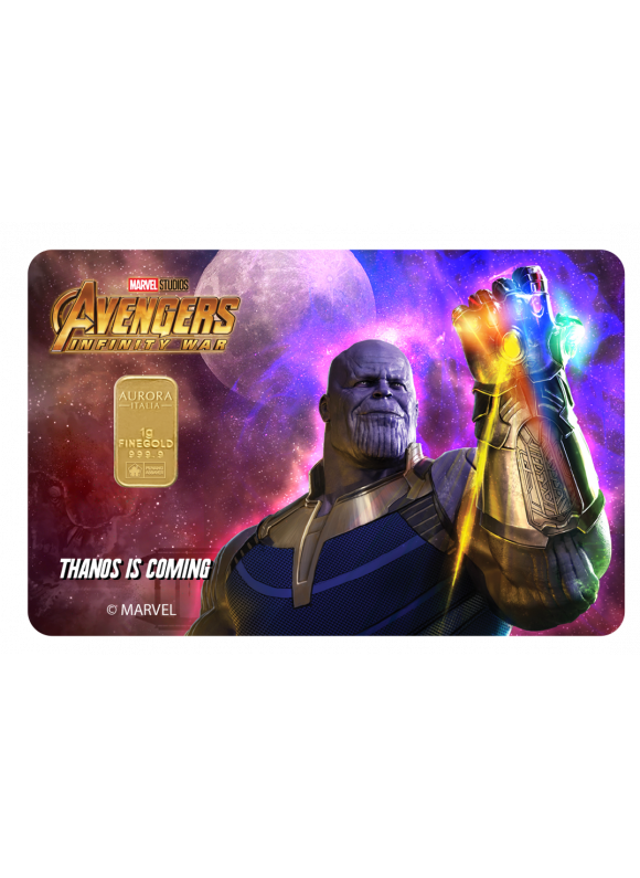 AURORA ITALIA LIMITED EDITION MARVEL COLLECTION : INFINITY WAR, THANOS GOLD BAR 1g 24K  (AU 999.9)  - 1PC (CARD DESIGN , CELEBRATION, COLLECTION, GIFT)