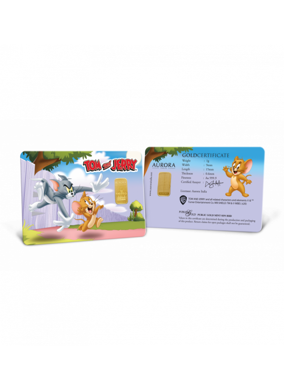 Aurora Italia Limited Edition Tom and Jerry Gold Bullion Bar 1g - 1pc  (Au 999.9) 24K, (card design, celebration, collection, gift, baby gift)