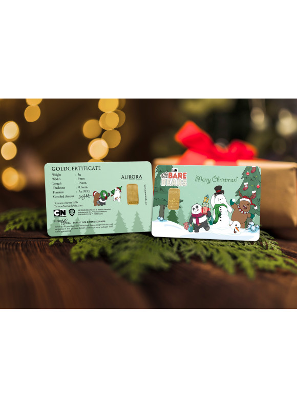 AURORA ITALIA LIMITED EDITION WE BARE BEARS GRAM BAR 1G - 2PCS (AU 999.9) 24K, (CARD DESIGN , CELEBRATION, COLLECTION, GIFT)