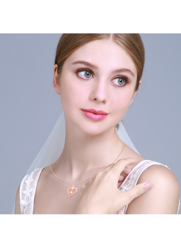 Disney Princess Aurora True Love Swarovski Necklace (Rose Gold)