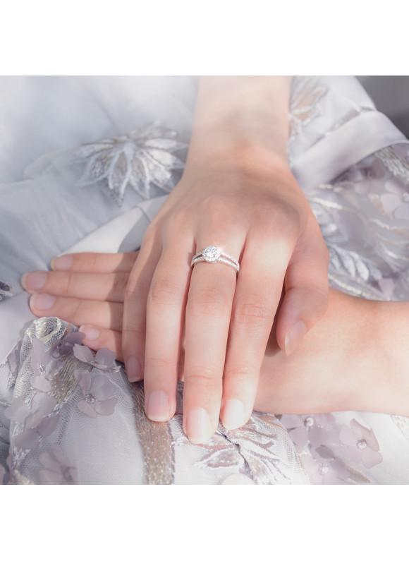 AUROSES Split Shank Halo Ring Sterling Silver