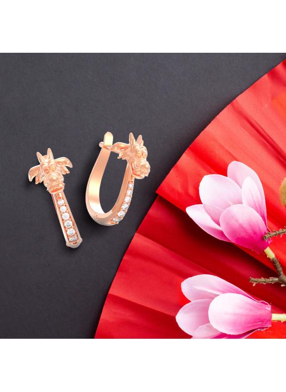 Disney Mulan Mushu Dragon Loop Swarovski Earrings