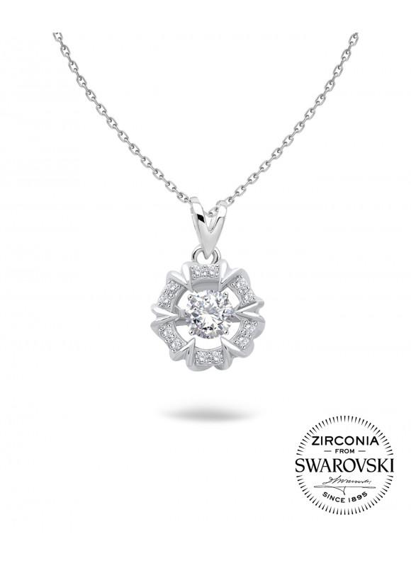 Auroses Harmony Halo Swarovski Necklace | SWAROVSKI ZIRCONIA | 925 Sterling Silver | 18K White Gold Plated