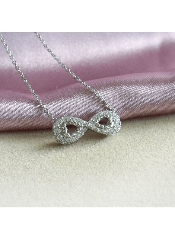Auroses Infinity Love Swarovski Necklace | SWAROVSKI ZIRCONIA | 925 Sterling Silver | 18K White Gold Plated
