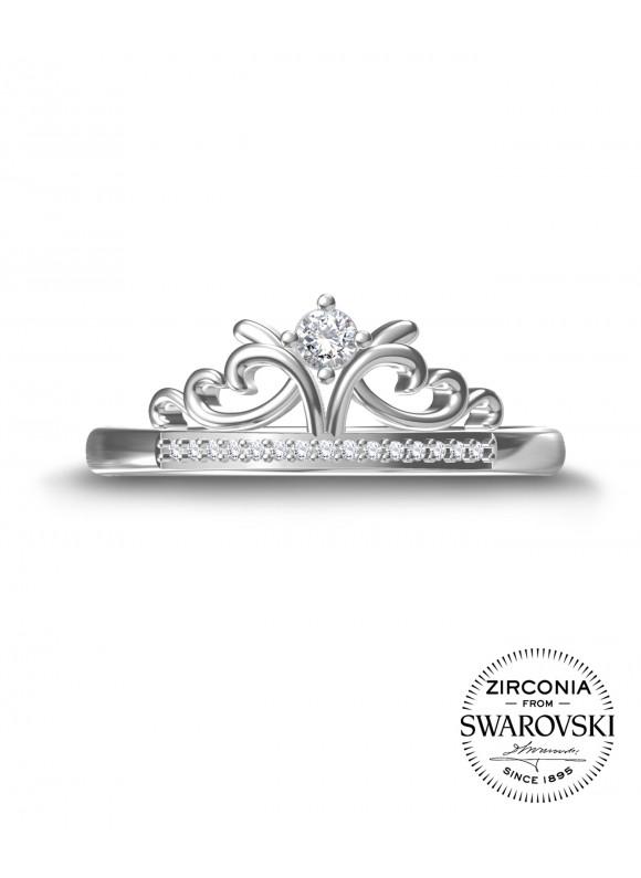 AUROSES Princess Tiara Ring | SWAROVSKI ZIRCONIA | 925 Sterling Silver | 18K White Gold Plated