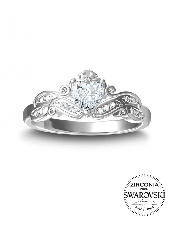 AUROSES Love Tiara Ring | SWAROVSKI ZIRCONIA | 925 Sterling Silver | 18K White Gold Plated