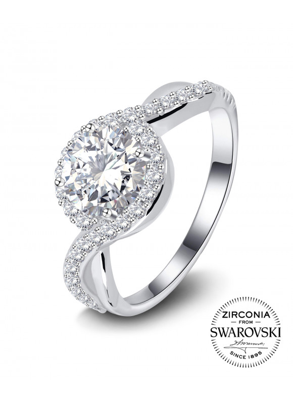 Riva Hoop Ring | SWAROVSKI ZIRCONIA | 925 Sterling Silver | 18K White Gold Plated
