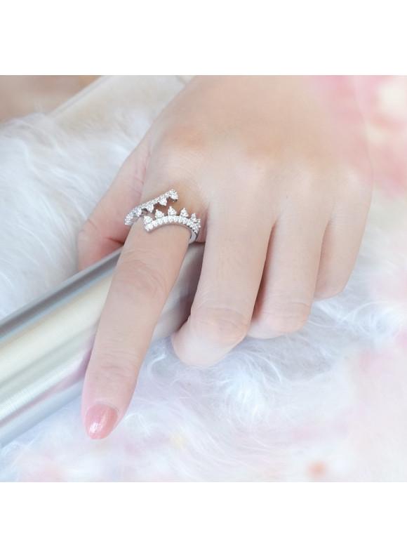 Auroses Blooming Twist Swarovski Ring | SWAROVSKI ZIRCONIA | 925 Sterling Silver | 18K White Gold Plated