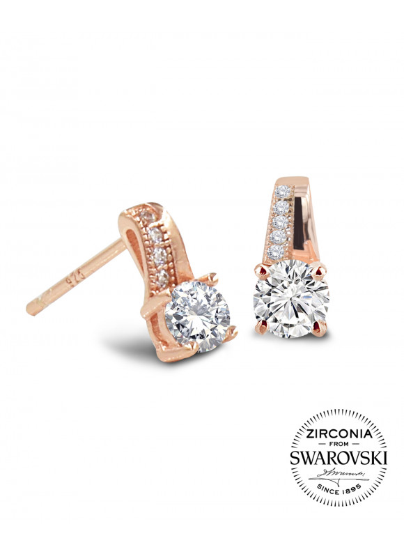 AUROSES Four-Prong Stud Earring | SWAROVSKI ZIRCONIA | 925 Sterling Silver | 18K Rose Gold Plated