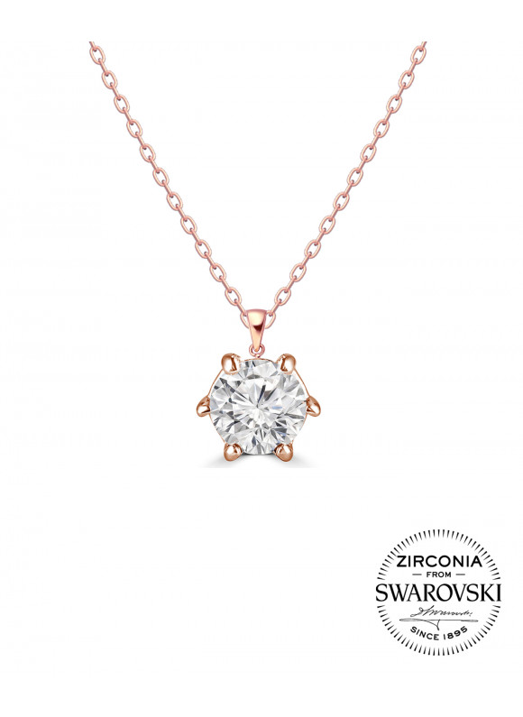 AUROSES Six-Prong Solitaire Pendant |SWAROVSKI ZIRCONIA | 925 Sterling Silver | 18K Rose Gold Plated