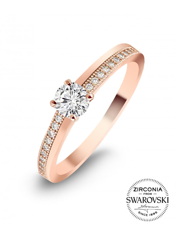 AUROSES FOUR-PRONGS SOLITAIRE RING | SWAROVSKI ZIRCONIA | 18K ROSE GOLD PLATED | 925 STERLING SILVER