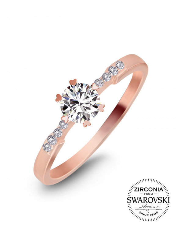 AUROSES Scalloped Solitaire Ring | SWAROVSKI ZIRCONIA | 925 Sterling Silver | 18K Rose Gold Plated