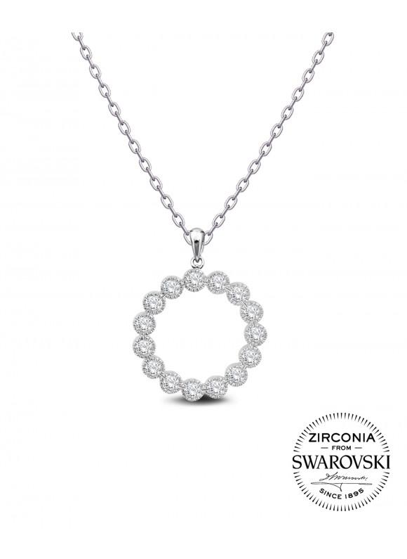 AUROSES Milgrain Bezel Eternity Pendant | SWAROVSKI ZIRCONIA | 925 Sterling Silver | 18K White Gold Plated