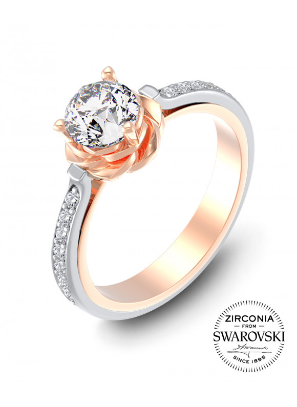 AUROSES DIVINE ROSE FANCY SOLITAIRE RING | SWAROVSKI ZIRCONIA | 925 STERLING SILVER |18K WHITE GOLD PLATED