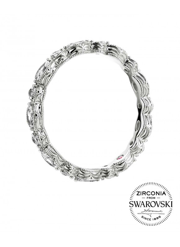 AUROSES Marquise Eternity Ring | SWAROVSKI ZIRCONIA | 925 Sterling Silver | 18K White Gold Plated