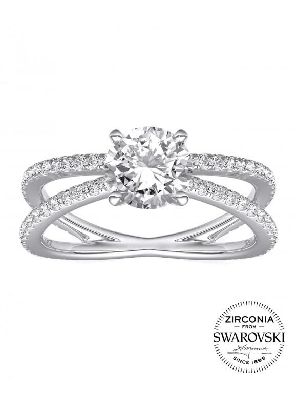 Aurora Fine Links Ring | SWAROVSKI ZIRCONIA | 925 Sterling Silver | 18K White Gold Plated