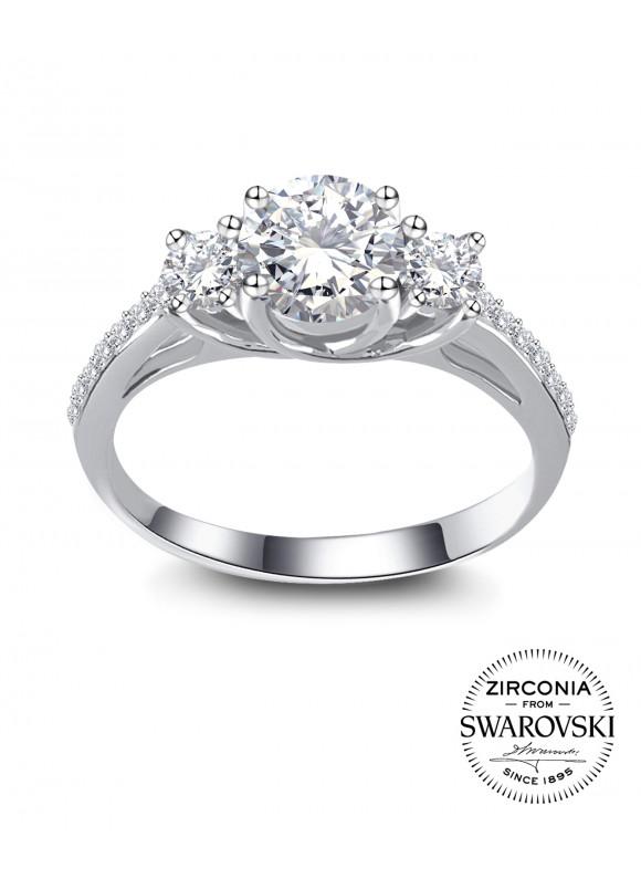 Lotus Ring   SWAROVSKI ZIRCONIA   925 Sterling Silver   18K White Gold Plated