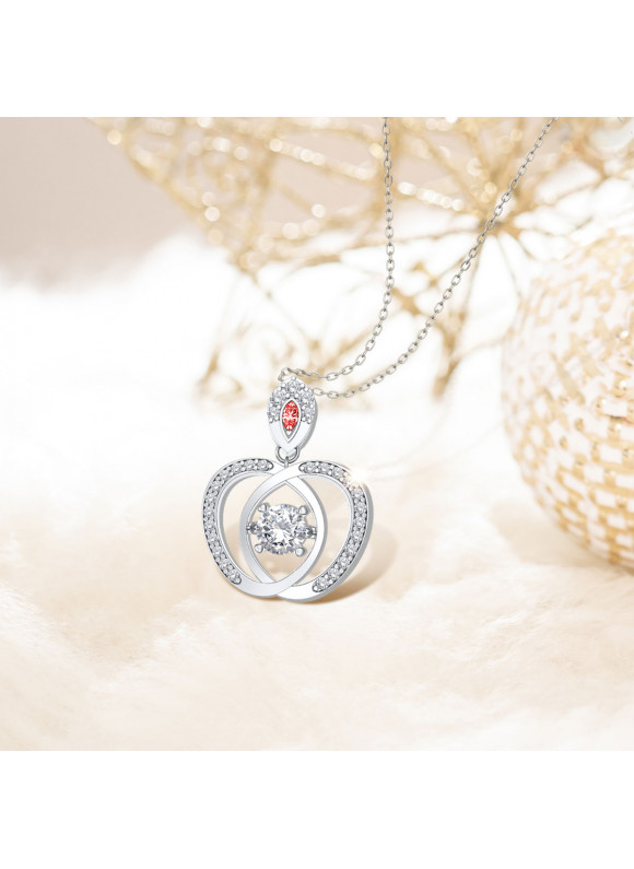 SNOW WHITE DANCING APPLE NECKLACE | SWAROVSKI ZIRCONIA | 925 STERLING SILVER |18K WHITE GOLD PLATED