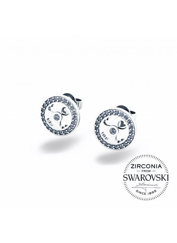 Auroses Clover Heart Stud Swarovski Earrings
