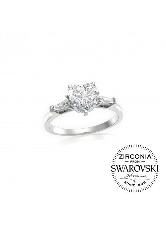 Auroses Only Heart Solitaire Swarovski Ring