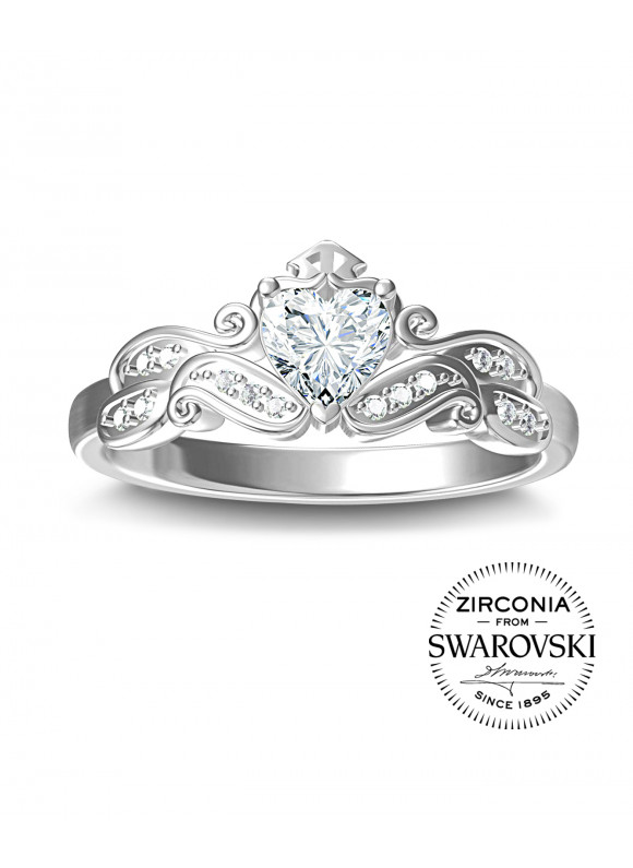 AUROSES Love Tiara Ring| SWAROVSKI ZIRCONIA | 925 Sterling Silver | 18K White Gold Plated