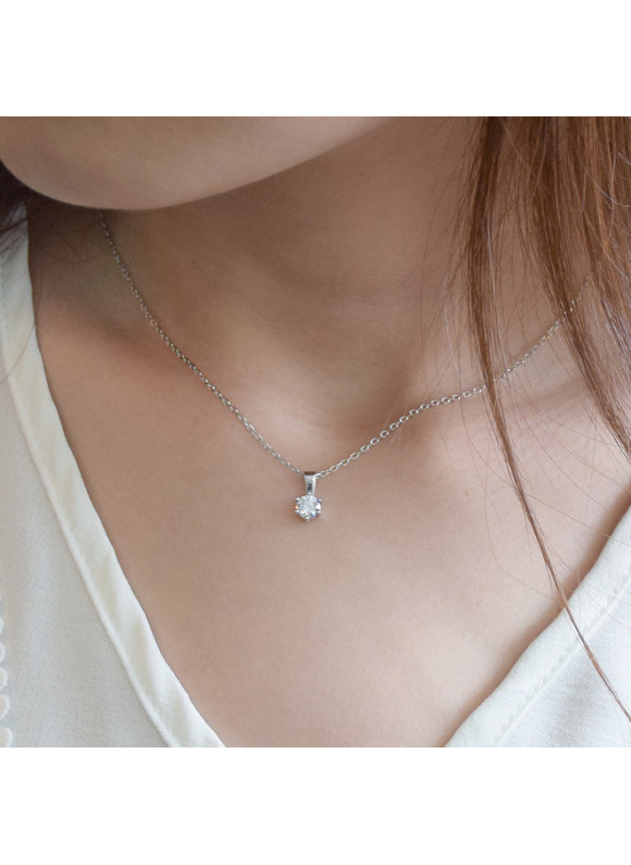 AUROSES Solitaire Pendant Sterling Silver