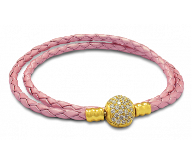 ENCHANTED LEATHER BRACELET (PINK) – M