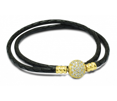 ENCHANTED LEATHER BRACELET (BLACK) – S