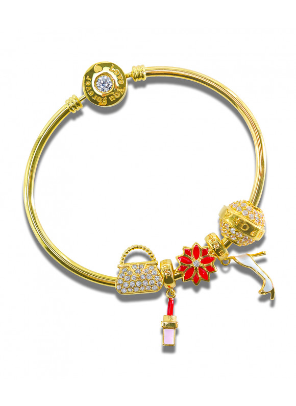 aurora 18k gold charm bracelet set